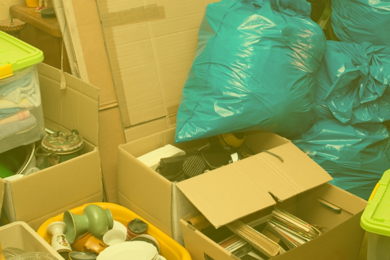 Boxes and bags in need of hoarding clean out services in New Jersey